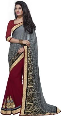 Yosshita & Neha Printed Fashion Satin, Chiffon Saree(Grey, Maroon)