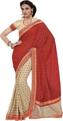 Yosshita & Neha Printed Fashion Chiffon Saree(Red, Brown)
