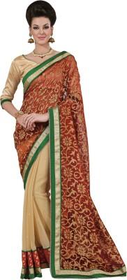 Yosshita & Neha Printed Fashion Chiffon, Net Saree(Red, Brown)