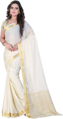 VASTRAKALA Solid Bollywood Poly Crepe, Chiffon Saree Multicolor