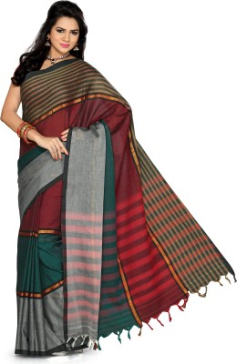 Ishin Printed Fashion Cotton Saree(Multicolor)