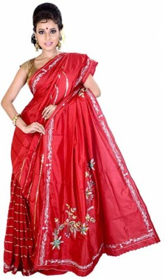Fashionvibes Solid Murshidabad Handloom Art Silk Saree(Red) at flipkart