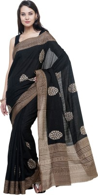BlackBeauty Embroidered Fashion Raw Silk Saree(Multicolor) at flipkart