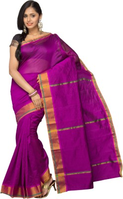 Korni Solid Banarasi Cotton, Silk Saree(Purple)