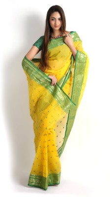 117601f0282cdf 70% OFF on Rudrakshhh Embroidered Tant Handloom Cotton Saree(Yellow, Light  Green) on Flipkart | PaisaWapas.com