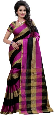 Style U Embellished Kanjivaram Handloom Art Silk, Polyester Saree(Magenta, Black)