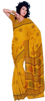 Sunaina Printed Cotton, Silk Saree(Yellow)