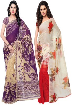 Kashvi Sarees Printed Daily Wear Poly Georgette Saree(Pack of 2, Multicolor) at flipkart