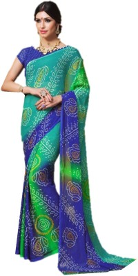 Design Willa Geometric Print Bandhani Chiffon Saree(Blue, Green) Flipkart