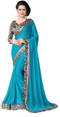 Indianbeauty Solid, Printed Bollywood Chiffon Saree(Light Blue) Flipkart