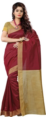 VASTRAKALA Self Design Fashion Cotton Blend, Poly Silk Saree Maroon