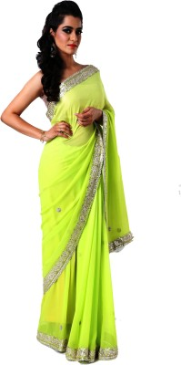 Ranas Self Design Fashion Georgette Saree(Green)