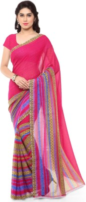 Ishin Printed Fashion Synthetic Georgette Saree(Pink)