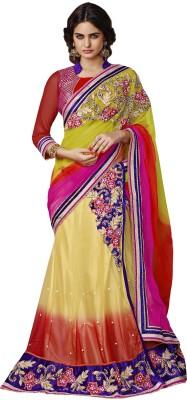 MAHOTSAV Self Design Fashion Cotton Blend Saree(Beige, Pink, Red) at flipkart