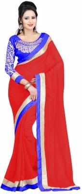 Winza Designer Striped, Plain Daily Wear Faux Georgette, Georgette Saree(Red, Blue, Multicolor) Flipkart