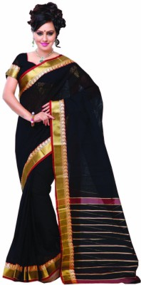 Ishin Solid, Striped Fashion Cotton Saree(Black)