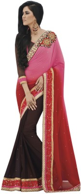 Indian Women By Bahubali Self Design Fashion Georgette Saree(Multicolor)