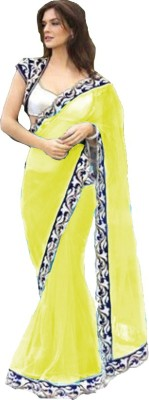 Bollywood Designer Embroidered Fashion Net Saree(Yellow)  available at flipkart for Rs.778