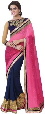 Indian Women By Bahubali Self Design Fashion Georgette Saree(Pink, Dark Blue)