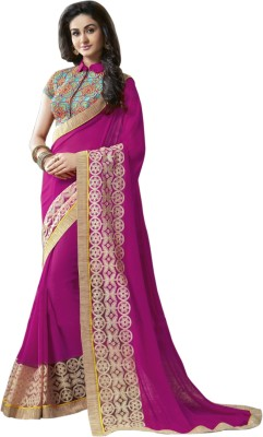 LaazreeFashion Embroidered Bollywood Georgette Saree(Pink)