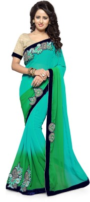 Mirchi Fashion Embroidered Bollywood Synthetic Georgette Saree(Light Blue, Green)