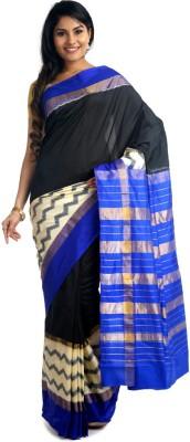 BlackBeauty Woven Pochampally Handloom Pure Silk Saree(Dark Blue, Black) at flipkart