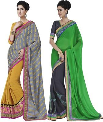 IndianEfashion Embroidered, Self Design Fashion Georgette Saree(Black)