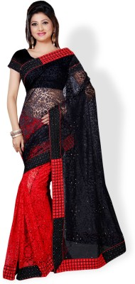 Aruna Sarees Embroidered, Self Design Bollywood Net, Brasso Saree(Red, Black)