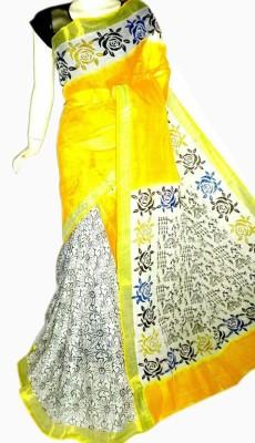 MCLS FASHION Printed, Floral Print Fashion Cotton Saree(Yellow, White)