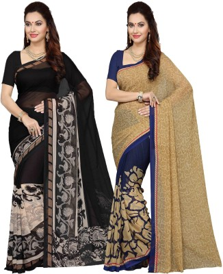 Ishin Printed Fashion Poly Georgette Saree(Pack of 2, Multicolor) at flipkart