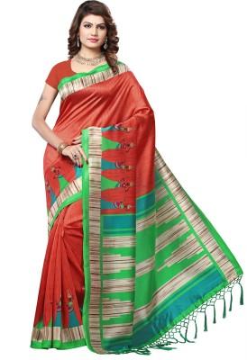 VASTRAKALA Printed Bollywood Art Silk Saree Maroon