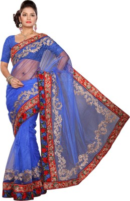 Ishin Embroidered Fashion Cotton Blend Saree(Blue) at flipkart
