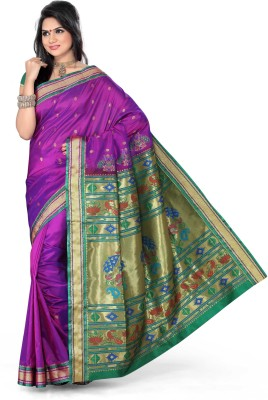 Ishin Printed Paithani Art Silk Saree(Purple)  available at flipkart for Rs.4950