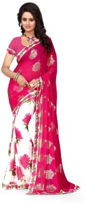 Dreambucket Floral Print Bollywood Georgette Saree(Pink)