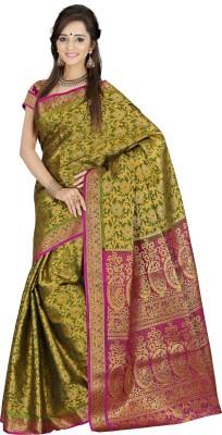Mimosa Woven Kanjivaram Handloom Art Silk Saree(Green)  available at flipkart for Rs.1599