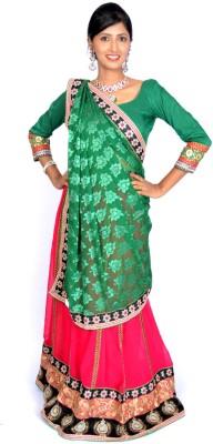 Jagadamba Solid Bollywood Chiffon Saree(Multicolor)