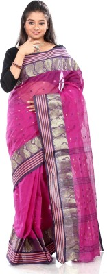 B3Fashion Solid Tant Cotton Saree(Pink)