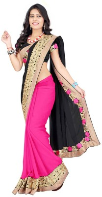Kuki Fashion Embroidered Bollywood Georgette Saree(Black, Pink)