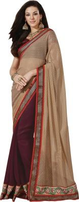 Yosshita & Neha Printed Fashion Chiffon Saree(Brown, Red)