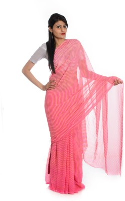 Aaradhya Fashion Printed Leheria Handloom Georgette saree(Pink)  available at flipkart for Rs.1510