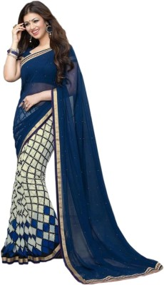 Welcome Fashion Printed Bollywood Chiffon Saree(Blue)  available at flipkart for Rs.675