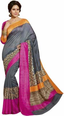 Bhavi Printed Fashion Art Silk Saree(Grey)