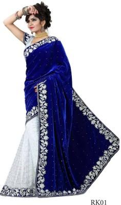 Shree Creation Embroidered Bollywood Velvet Saree Blue