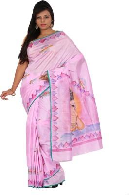 Alankrita Printed, Floral Print, Embellished Mysore Art Silk, Raw Silk, Dupion Silk, Printed Silk Saree(Pink, Multicolor)