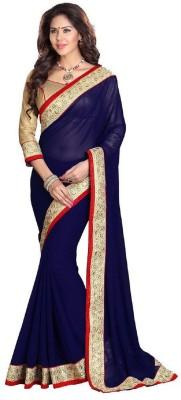 Indian E Fashion Self Design Fashion Georgette Saree(Blue)