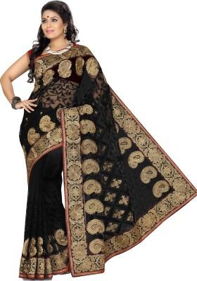 Ishin Embroidered Fashion Cotton Blend Saree(Black) at flipkart