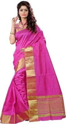 VASTRAKALA Woven Fashion Tussar Silk Saree Pink
