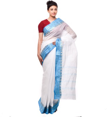 Purabi Woven Tant Handloom Cotton Saree(White, Blue)