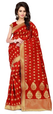 Style U Self Design Banarasi Handloom Jacquard Saree(Red, Gold)