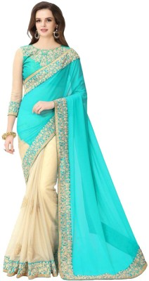 Fashion Surat Embroidered Fashion Georgette Saree(Blue) Flipkart